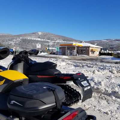Gas station, snowmobile
